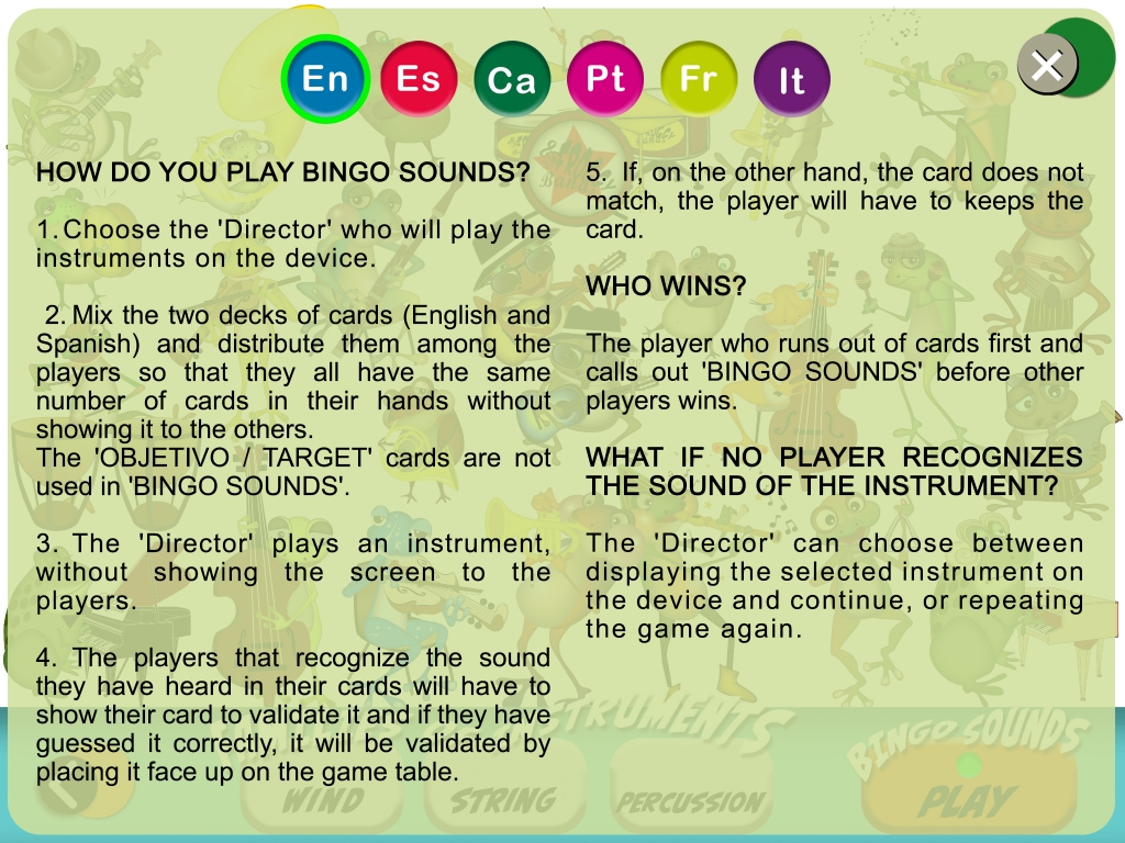 Instruments Sounds Bingo rules
